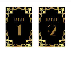 themed table numbers gatsby table number etsy