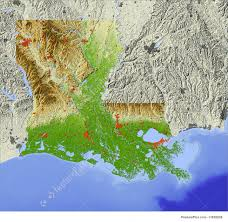 Relief Map 3d Relief Map Of Louisiana Illustration