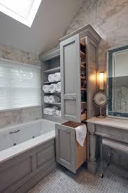 Bathroom Cabinet With Hamper Glazed Gray Cabinets Transitional Bathroom A Cook U0027s Room