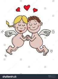 cartoon drawing 2 angels love stock vector 252376717 shutterstock