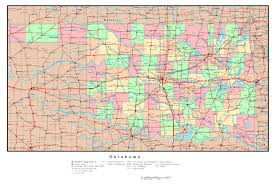 United States Map With Cities And States by Large Detailed Administrative Map Of Oklahoma State With Roads