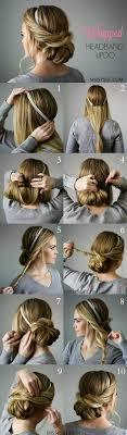 easy hairstyles for waitress s wrapped headband updo missysue women s world pinterest