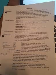 help me write a paper can anyone help me write the prodcedure for ohm s chegg com law describes linear materials materials for which a direct the proportion exists between the voltage