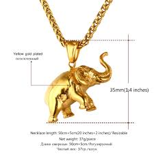 jewelry charm necklace images U7 stainless steel gold color elephant necklace trendy men jewelry jpg