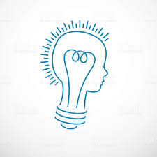 creative brain concept intelligent person vector symbol light bulb