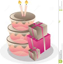 birthday cake and gift boxes stock image image 15299651