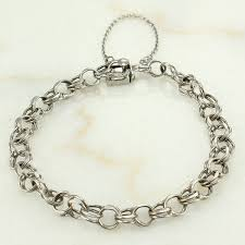 chain link bracelet charms images Vintage sterling double link starter charm bracelet a z chain co jpg