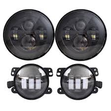 jeep lights on top amazon com dot approved 7 u0027 u0027 black daymaker led headlights 4