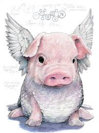 colored sitting pig baby with wings design