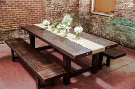 decor dark wood dining table with burlap table runner and parson