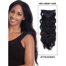 remy hair extensions jet black 1 wave clip in ultimate indian remy human hair