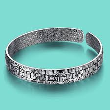 solid silver bracelet charms images Women 39 s 925 sterling silver bracelet ethnic blessing bracelet open jpg