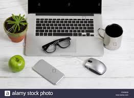 Desk Organized Clean And Organized White Desktop With Office Work Objects And