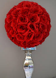 Flower Ball Premium Soft Silk Red Flower Ball Wedding Centerpiece Wedding