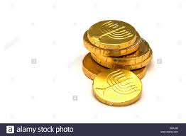 hanukkah chocolate coins chocolate gold coins wrapped in gold foil with menorah