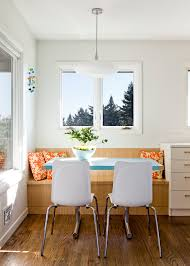 banquette bench dining room contemporary with blue table bench