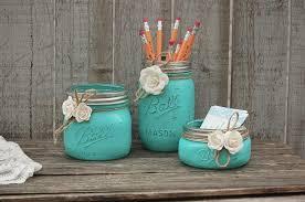 desk set mason jar aqua shabby chic pencil holder dorm desk