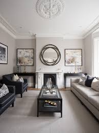 mirror living room with round mirror living room transitional and