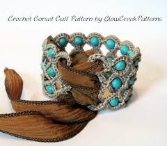 cuff bracelet tutorials images Crochet pattern corset cuff bracelet crochet jewelry jpg