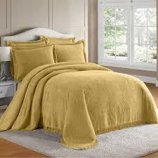 classic bedroom with yellow chenille affordable bedspread large