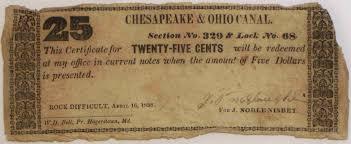 twenty five dollars chosi u0027s c u0026o canal scrip page