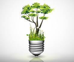 light bulb with green tree grass and flower vecto2000