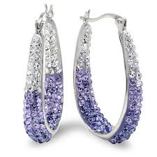 purple earrings sterling silver purple and white hoop earrings made