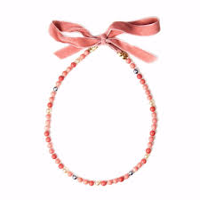 pearl ribbon chanel wrap pearl ribbon necklace necklaces rope orange ref