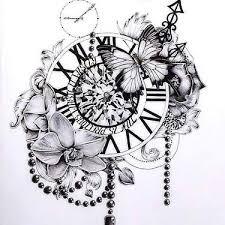 Tattoos Designs - clock flowers butterfly design tattoos