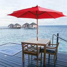 Patio Umbrella Cord by Red Ikayaa 3m Wooden Patio Garden Outdoor Umbrella Lovdock Com