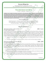 ideas of sample resume for assistant teacher in download gallery