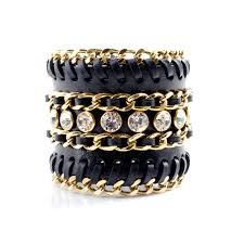 gold chain bracelet with leather images Impero london hera black leather braided chain bracelet cuff with jpg