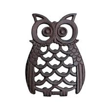 cast iron owl wall ornament for garden or home in antique