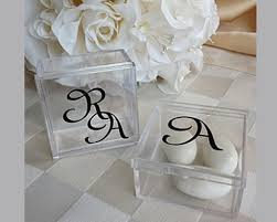 wedding favor containers monogram square acrylic favor box my wedding favors