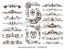 nouveau elements corners design ornament stock vector