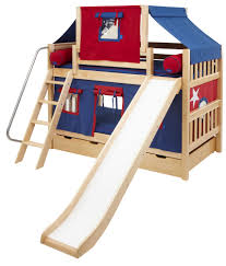 Maxtrix Low Bunk Bed W Angled Ladder And Slide Full Size - Maxtrix bunk bed