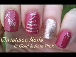 christmas tree nail art gold u0026 pink nails by scotch tape