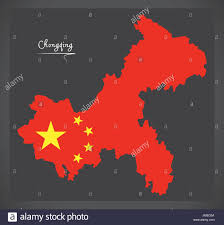 Chongqing China Map by Chongqing China Map With Chinese National Flag Illustration Stock
