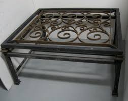 coffee table french forged iron and glass coffee table french