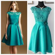 teal bridesmaid dresses real picture teal green lace and satin knee length sheer