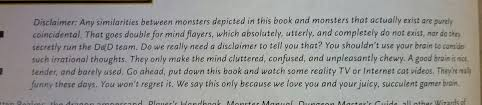 Disclaimer by Monster Manual Disclaimer Dnd