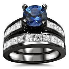 black bridal sets 2 85ct blue sapphire diamond engagement ring bridal set 14k
