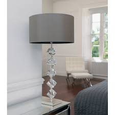 verdone crystal lamp in silver plate with a mink coloured silk