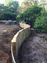 Walled Garden Ripon by Curved Timber Retaining Wall With Vertical Railway Sleepers