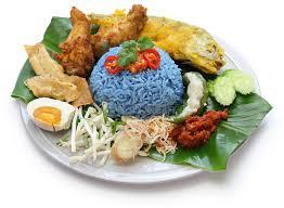 cuisine stock nasi kerabu blue color rice salad malaysian cuisine stock photo
