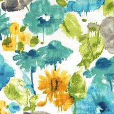 Yellow Home Decor Fabric Grey Turquoise Watercolor Upholstery Fabric Teal Gold Floral