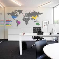 World Map Wall Decor Interior Elegant Wall Decoration Office Room Idea Office Wall