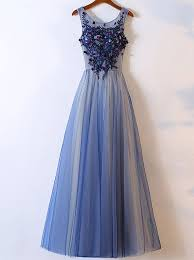 a line crew floor length blue tulle prom dress with appliques