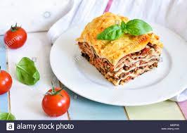 cuisine decorative fresh lasagne lasagne bolognese pasta dish on a wooden table