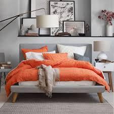 mod upholstered bed feather grey west elm au